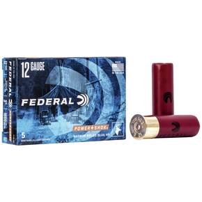 "Federal Power-Shok Rifled Slug 12 ga 3"" MAX 1 1/4 oz Slug 1600 fps - 5/box"