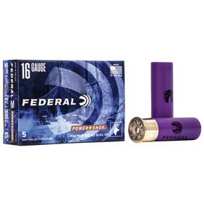 "Federal Power-Shok Rifled Slug 16 ga 2 3/4"" MAX 4/5 oz Slug 1600 fps - 5/box"