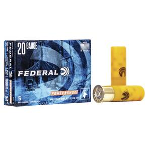 "Federal Power-Shok Rifled Slug 20 ga 2 3/4"" MAX 3/4 oz Slug 1600 fps - 5/box"