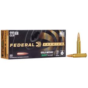 Federal Premium Gold Medal Sierra MatchKing Rifle Ammunition .223 Rem 77 gr BTHP 2720 fps - 20/box
