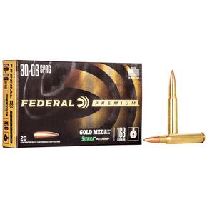 Federal Premium Gold Medal Sierra MatchKing Rifle Ammunition .30-06 Sprg 168 gr BTHP 2700 fps - 20/box