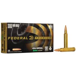 Federal Premium Gold Medal Sierra MatchKing Rifle Ammunition .300 Win Mag 190 gr BTHP 2900 fps - 20/box