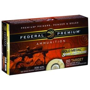 Federal Premium Gold Medal Sierra Matchking Rifle Ammunition .308 Win 168 gr BTHP 2650 fps - 20/box
