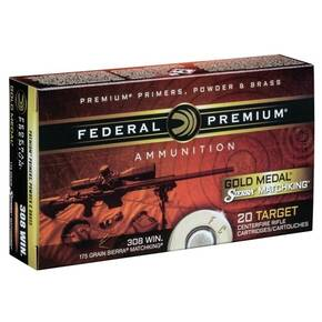 Federal Premium Gold Medal Sierra MatchKing Rifle Ammunition .308 Win 175 gr BTHP 2600 fps - 20/box