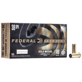 Federal Premium Gold Medal Handgun Ammunition .38 Spl 148 gr LWC 690 fps 50/box