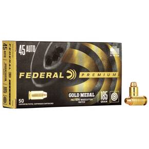 Federal Premium Gold Medal Handgun Ammunition .45 ACP 185 gr FMJ-SWC 770 fps 50/box
