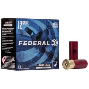 "Federal Game-Shok Hi-Brass Load 12 ga 2 3/4"" 3 3/4 dr 1 1/4 oz #4,5,6,7.5 1330 fps - 25/box"