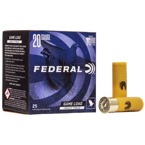 "Federal Game-Shok Heavy Field Load 20 ga 2 3/4"" 2 1/2 dr 1 oz #6 1165 fps - 25/box"