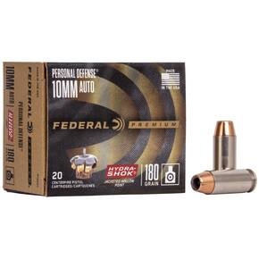 Federal Premuim Personal Defense Handgun Ammunition 10mm Auto 180 gr JHP 1030 fps 20/box