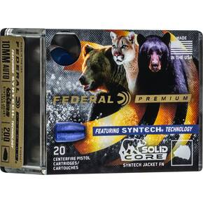 Federal Solid Core Handgun Ammunition 10mm Auto 200 gr TSJ 20/ct