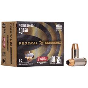 Federal Premuim Personal Defense Handgun Ammunition .40 S&W 180 gr JHP 1000 fps 20/box