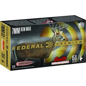 Federal Swift Scirocco II Rifle Ammuniiton 7mm Rem Mag 165 gr Poly Tip 3050 fps 20/ct