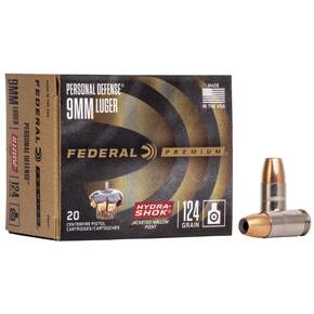 Federal Premuim Personal Defense Handgun Ammunition 9mm Luger 124 gr JHP 1120 fps 20/box
