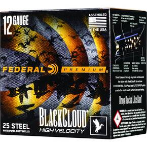 "Federal Black Cloud FS Steel High Velocity Shotshells 12ga 3"" 1-1/8oz 1635 fps #2 25/ct"