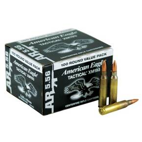Federal XM193 NATO Tactical Rifle Ammunition 5.56mm 55 gr FMJ 3165 fps 100/Box