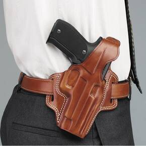 Galco S&W 411. 915, 5906 Fletch High Ride Belt Holster Right Hand Tan