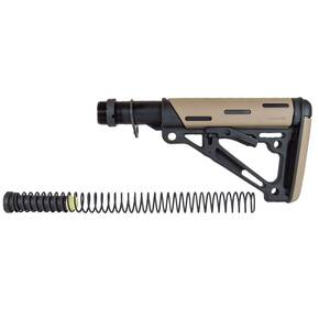 Hogue AR-15/M-16 OM Collapsible Buttstock Assembly with Buffer Tube and Hardware-Desert Tan Rubber
