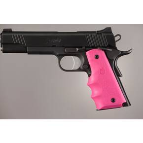 Hogue Colt Government Grips .45, 1911 Rubber Grips with Finger Grooves - Pink