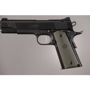 Hogue Colt Government Grips .45, 1911 Rubber Grips Panels, Checkered with Diamonds - OD Green