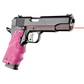 Hogue Enhanced LE Grip - Govt. Model Rubber Grip with Finger Grooves - Pink