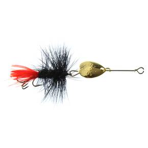Joe's Flies Short Striker Spinner Fly Lure Size 10 - Black Wooly Worm