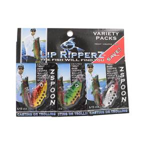 Lip Ripperz Variety Z Spoon Lures (Trout, Crappie Bass) 3pk
