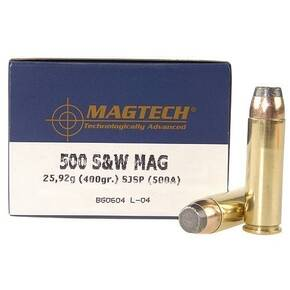MagTech Handgun Ammunition .500 S&W 400 gr JSP 1608 fps 20/box