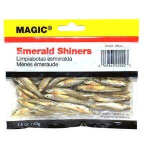 "Magic Products Preserved Baits Emerald Shiner Minnows 1.5 oz Pouch 1-1/2-2"" - Small Natural"