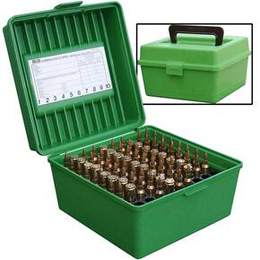 MTM Deluxe R-100 Series Rifle Ammo Box - 100 rd, Red or Green