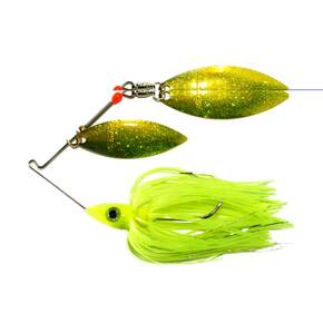 Nichols Pulsator Metal Flake Double Spinner Lure 1/2 oz - Transparent Chartreuse