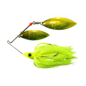Nichols Pulsator Metal Flake Double Spinner Lure 3/8 oz - Transparent Chartreuse