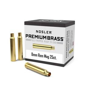Nosler Unprimed Brass Rifle Cartridge Cases 25/ct 8mm Rem Mag