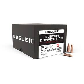 "Nosler Custom Competition Bullets .22 cal .224"" 77 gr HPBT 1000/ct"