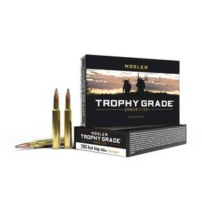 Nosler Trophy Grade Rifle Ammunition .280 Ackley Improved Nosler Partition 160 gr  2950 fps - 20/box