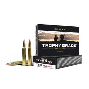 Nosler Trophy Grade Rifle Ammunition .338 RUM 300 gr ACB LR 20/box