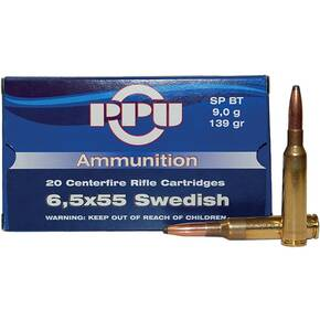 PPU Rifle Ammunition 6.5x55mm Swedish 139 gr SP 2540 fps - 20/box