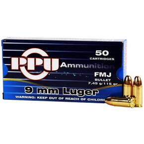 PPU Handgun Ammunition 9mm Luger  115 gr FMJ  50/box