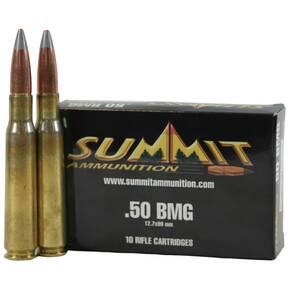 Summit Rifle Ammunition with New Brass .50 BMG 750 gr A-MAX  - 10/box