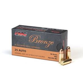 PMC Bronze Handgun Ammunition .25 ACP 50 gr FMJ 750 fps 50/box