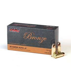 PMC Bronze Handgun Ammunition .38 Super +P130 gr FMJ 1100 fps 50/box