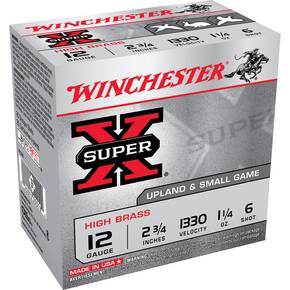 "Winchester Super-X High-Brass 12 ga 2-3/4""  1-1/4 oz #6  1330 25/ct"