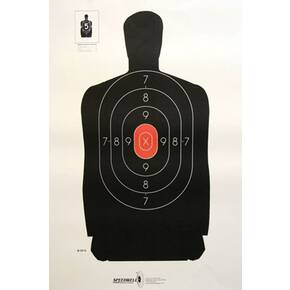 Speedwell Official NRA Police Qualification Silhouette 25 yd. Police Silhouette Reduced - Red Center 500/Pack