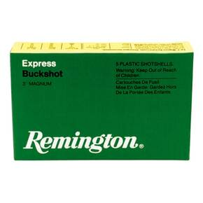 "Remington Express Magnum Buckshot Shotgun Ammo 12 ga 3"" 4 dr 15 plts #00 1225 fps - 5/box"
