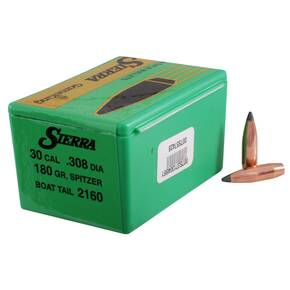 "Sierra GameKing Rifle Bullets .30 cal .308"" 180 gr SBT 100/ct"