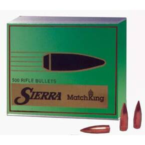 "Sierra MatchKing Rifle Bullets .30 cal .308"" 190 gr MHPBT (Moly-Coated) 500/ct"