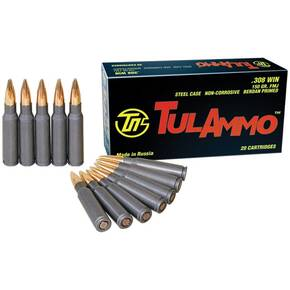 TulAmmo Rifle Ammunition .308 Win 150 gr FMJ 2800 fps 500/ct Case