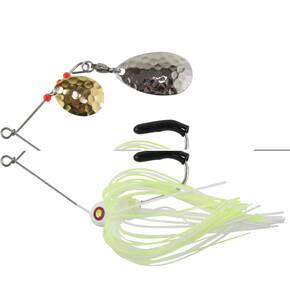 "Tim Poe Thunder Lures Double Blade Spinnerbait 1/8 oz 1-1/2"" - Indiana Nickel Colorado Gold/Chartreuse & White"