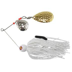 Tim Poe Thunder Lures Double Blade Spinnerbait 1/4 oz - Indiana Gold Colorado Nickel/White