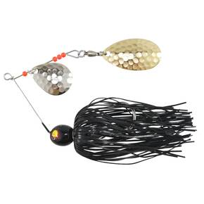 Tim Poe Thunder Lures Double Blade Spinnerbait 1/4 oz - Indiana Gold Colorado Nickel/Black Lure Spinner
