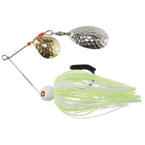 Tim Poe Thunder Lures Double Blade Spinnerbait 1/4 oz - Indiana Nickel Colorado Gold/Chartreuse & White
